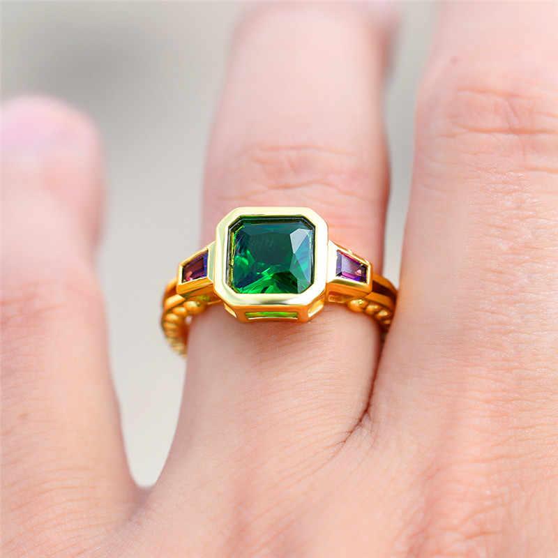 น่ารักชายหญิงสีเขียวหินสีฟ้าแหวนคริสตัลสีเหลืองทอง Zircon แหวนสัญญาใหญ่แหวนหมั้นสำหรับชายผู้หญิง