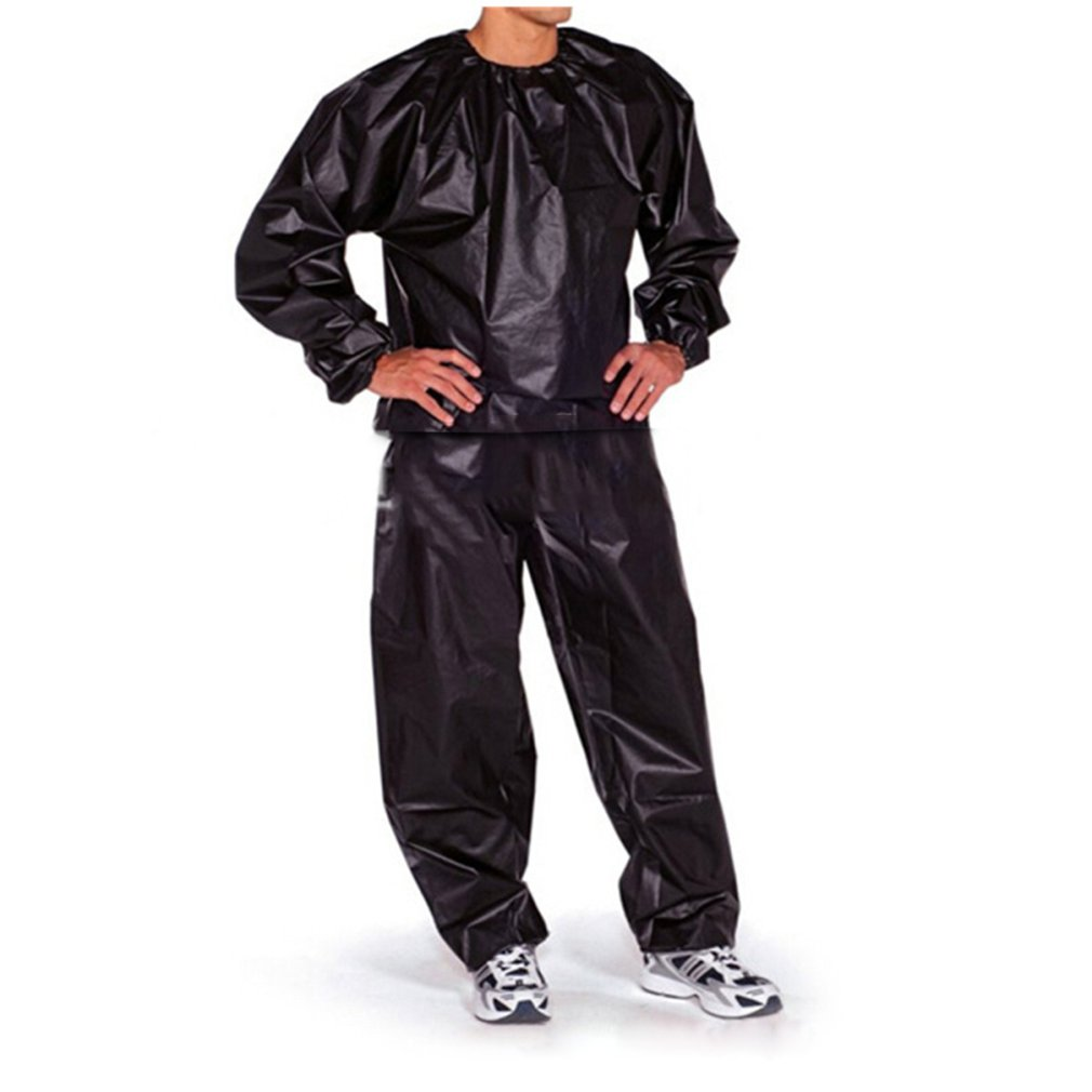 Waterproof Windproof PVC Sauna Suit Anti-Rip Training Fitness Weight Loss Sport Sauna Clothes Solid Color Gym Suit