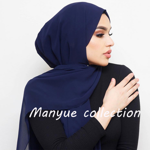 Image 1 - Women Plain Bubble Chiffon Hijab Scarf Head Wraps Solid Shawls Headband Soft Long Muslim Head Scarf Georgette Scarves Hijabs
