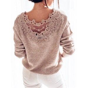 Элегантный кружевной вязаный свитер с открытой спиной, женский свободный осенне-зимний теплый топ с длинным рукавом, женская вязаная одежд...