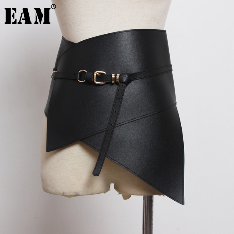 [EAM]  Multicolor Black Irregular Pu Leather Long Wide Belt Personality Women New Fashion Tide All-match Spring 2020 1U210