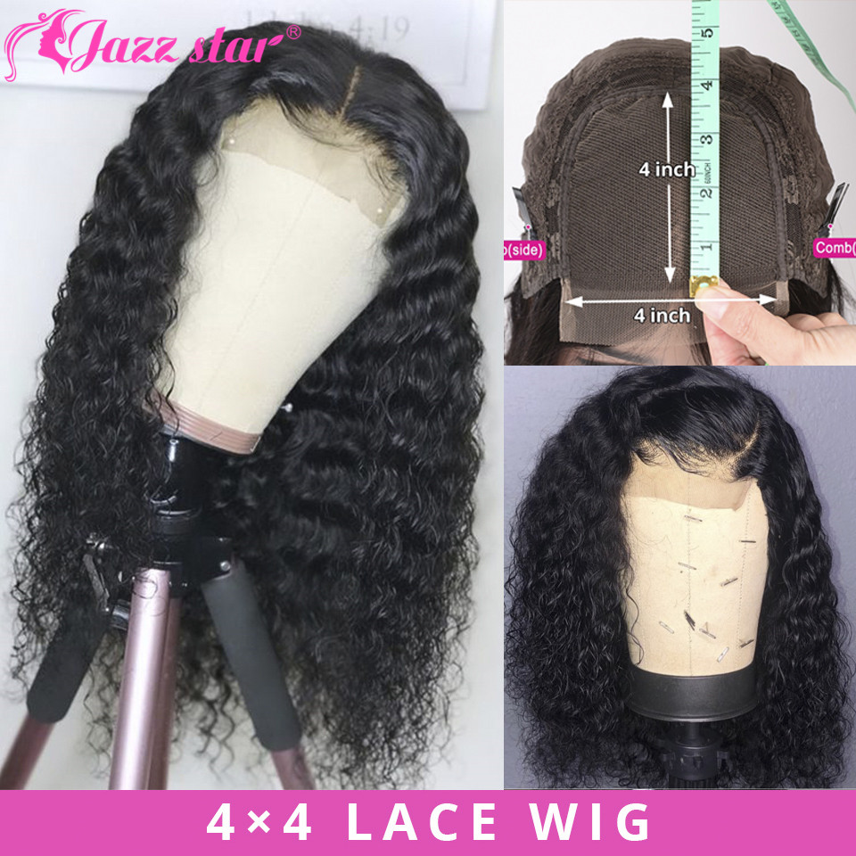 Brazilian 4X4 Lace Closure Wig Deep Wave Wig Human Hair Wigs 150% Density Lace Wig Pre-Plucked With Baby Hair Jazz Star Non Remy