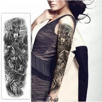 Tatuaje temporal a prueba de agua, tatuaje adhesivo antiguo Guerrero romano reina águila brazo completo tatuaje falso flash tatuaje manga tato para hombres y mujeres