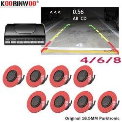 Koorinwoo mais recente plana 16.5mm girar radares 4/6/8 sensor de estacionamento vídeo do carro preto reverso backup radar detector carro sistema estacionamento