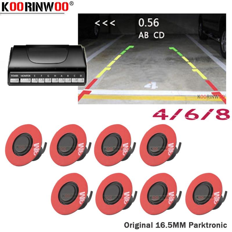 Koorinwoo Neueste Flache 16,5 MM Drehen Radargeräte 4/6/8 Auto Video Parkplatz Sensor Schwarz Reverse Backup Radar auto Detektor Parkplatz System