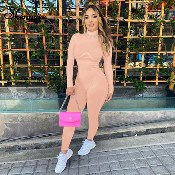 Skennyee Autumn Fitness Casual Jumpsuit Women Workout Elastic Bodycon Playsuit Athleisure Sport Gym Long Romper Overalls rlmababy casual women cotton playsuit jumpsuit square collar long sleeve bodycon sexy romper overalls knitted ribbed playsuit