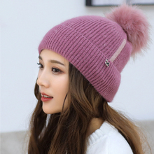 Winter Thickening Rabbits Hair Knitting Hats Maam Solid Color Patch Swan Earmuffs Wool