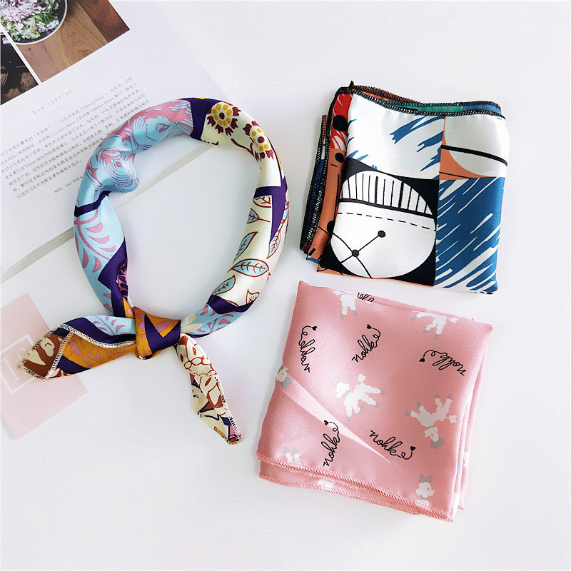38 Hot Sale Small Square Satin Scarf Artifical Silk Scarf Foulard Femme Elegant Women's Wrap Handkerchief Bandana Accessories