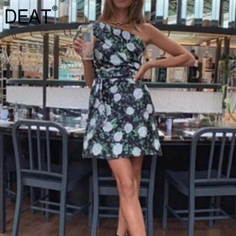 DEAT 2020 new summer fashion women <font><b>dresses</b></font> female clothing off one shoulder printed <font><b>sexy</b></font> <font><b>mini</b></font> <font><b>dress</b></font> female vestido WL35806L image