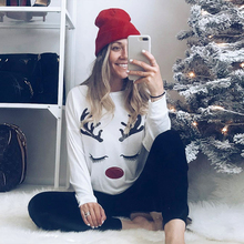 Christmas Cartoon Tee Elk Print Contrast Casual O-Neck Pullover 2019 Autumn Femme Long Sleeve T-shirt  Knitted Top D30 men contrast neck tee