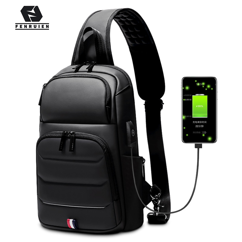 Fenruien Crossbody Bags For Men USB Charging Messenger Sling Bag Waterproof Chest Bag Oxford Single Shoulder Strap Pack 2019 New