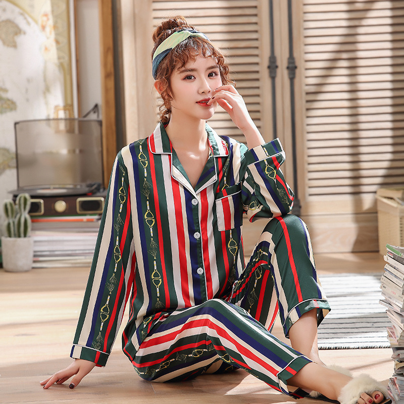 New Style Spring And Autumn Long-sleeved Cardigan Pajamas Two-Piece Set Stripes Women's Loose-Fit Fold-down Collar Model Silk Ho
