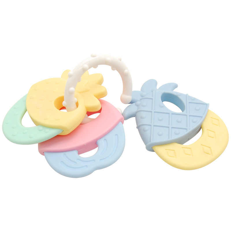 Baby Molar Toy Kids Teether Cute Silicone Macaron Color Fruit Shape Teether baby Rattle Safety Baby Teether
