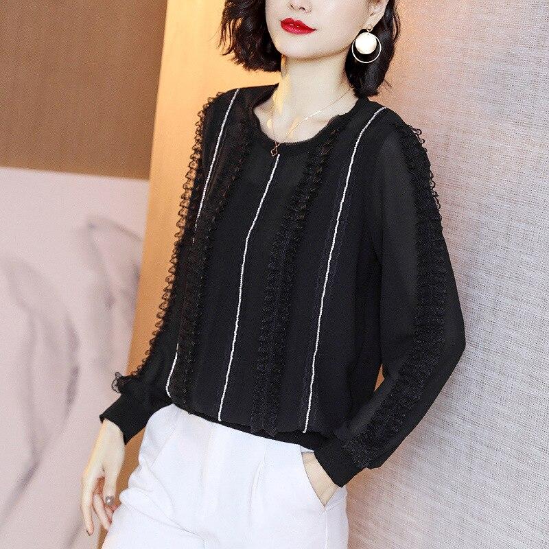 Automne nouveau Style noir et blanc avec motif femmes Top polyvalent col rond ample en mousseline de soie Blouse contraste couleur commune dentelle