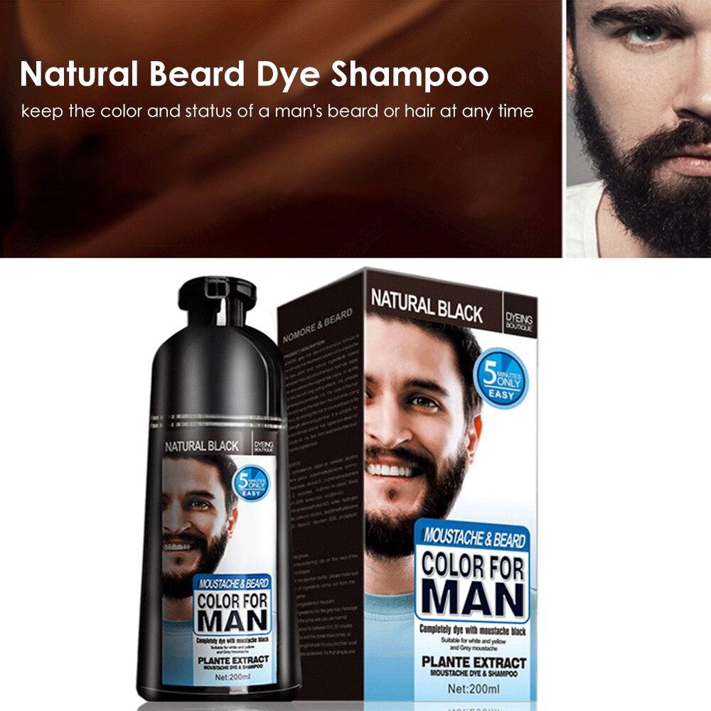 natural long lasting 200ml permanent beard dye shampoo for men beard dying removal white grey beard hair men beard dye shampoo 2