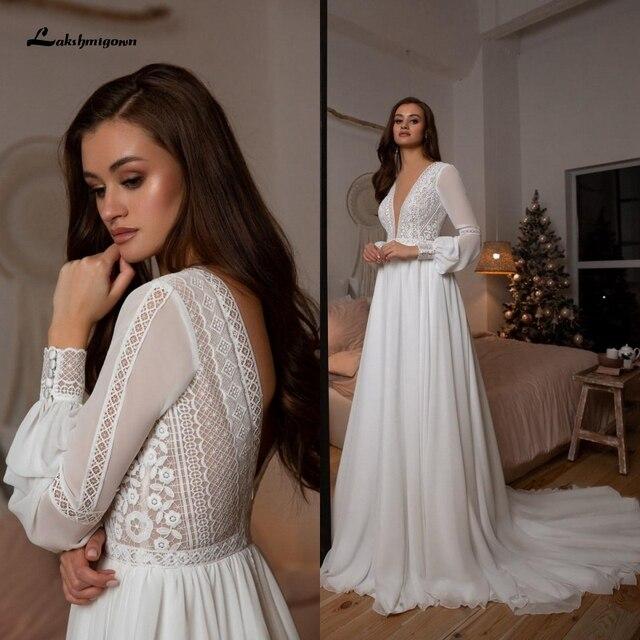 Vestidos Boho Bridal Long Sleeve Wedding Dresses A Line 2021 Robe Longue Simple Beach Chiffon Long Wedding Gowns Deep V-neck 1
