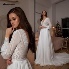 Vestidos Boho Bridal Long Sleeve Wedding Dresses A Line 2021 Robe Longue Simple Beach Chiffon Long Wedding Gowns Deep V-neck