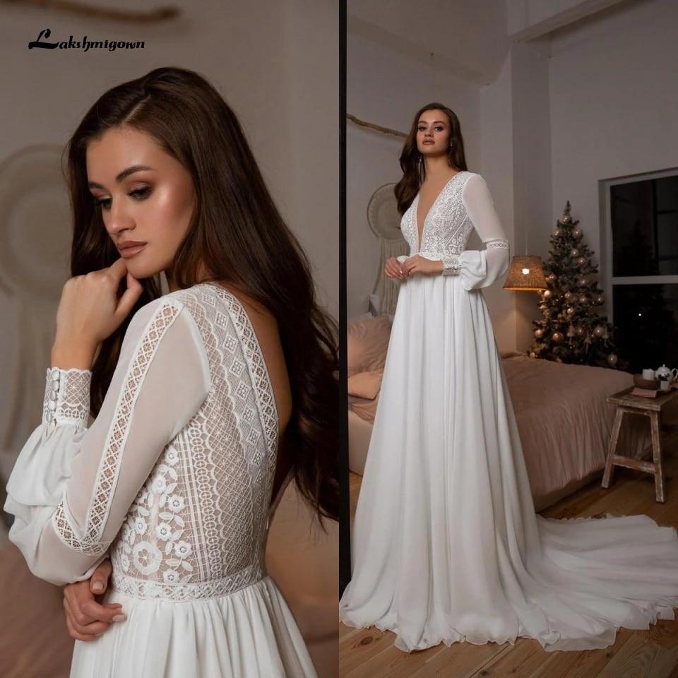Vestidos Boho Bridal Long Sleeve Wedding Dresses A Line 20 Robe Longue  Simple Beach Chiffon Long Wedding Gowns Deep V neck