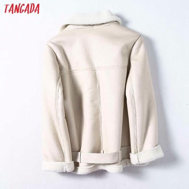 Tangada Women beige fur faux leather jacket 5B01