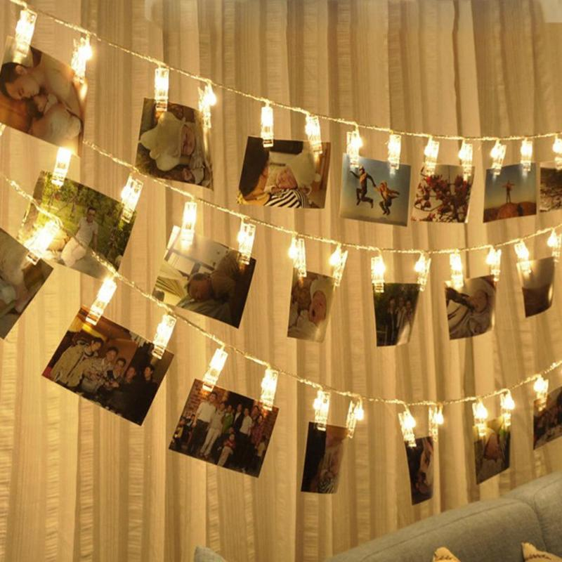 1.2/2.2M 10/20LEDs Photo Clip Lamp LED String Light Fairy Lights For Home Baby Shower Party Garland Wedding Christmas Decoration