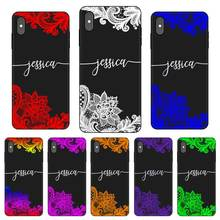 Lace flower Personalized Custom DIY Name Black Soft TPU Silicone Phone Case Cover For iPhone 11 Pro X XR XS MAX 5 6 6S 7 8 Plus