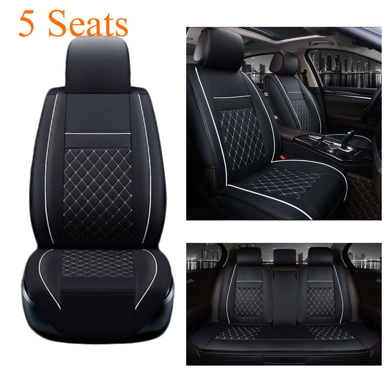 Leather Car Seat Cover Universal 5 Seats Waterproof Auto Front Rear Back Chair Seat Cushion for SUV Vehicle Car Seat Protector