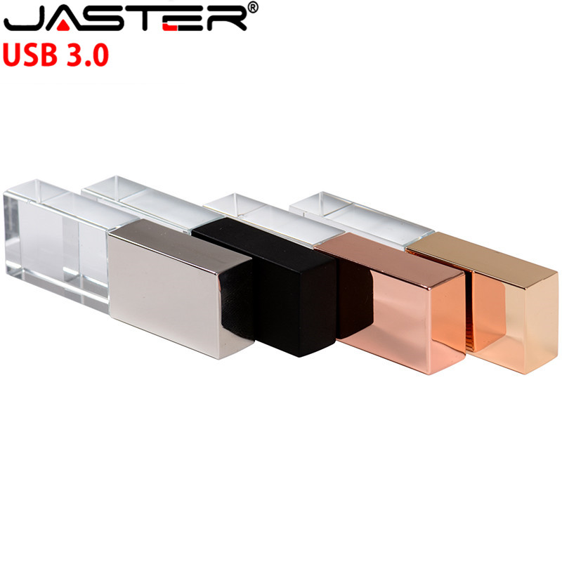 JASTER New Crystal USB Flash Pen Drive Custom Logo Cle USB 2.0 4gb 16GB 32GB 64GB Wedding Gift Pendrive (Over 10pcs Free Logo)