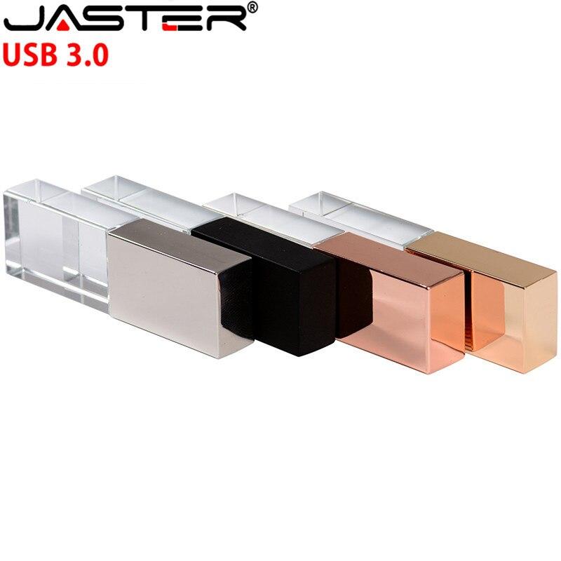 JASTER New Crystal USB Flash Pen Drive Custom Logo Cle USB 2.0 4gb 16GB 32GB 64GB Wedding Gift Pendrive (Over 10pcs Free Logo)