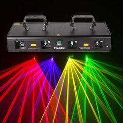 4 lentes etapa luz Disco DJ fiesta RGYB Disco etapa DMX 460mW luz láser