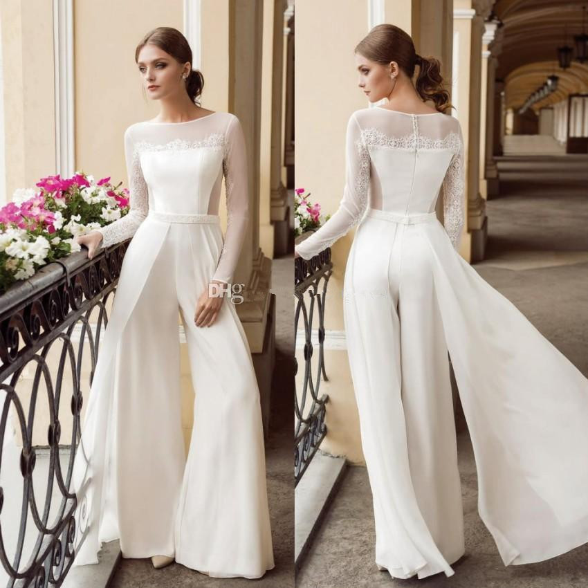 2020 Bohemian Jumpsuit Lace Wedding Dresses Jewel Neck Long Sleeves Beach Bridal Gowns Floor Length Chiffon Boho Vestido De Novi