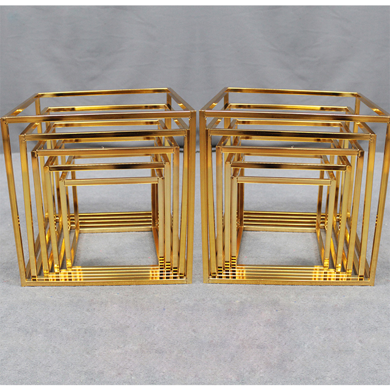 Square Metal Wedding Stand Shiny Gold Plating Geometric Box Backdrop Stand Road Lead Metal Iron Flower Stand Home Decoration