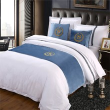 Blue Suede S Sign Blanket Bed Runner Scarf Bedspread Bed Cover Hotel Bedding Decor Single Queen King 3 Size(China)