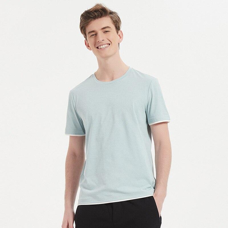 Simple O-neck Sorona Breathable Mens tank tops casual sleep tops short sleeve mens bottoming shirts sleepwear tops B6022 B6023