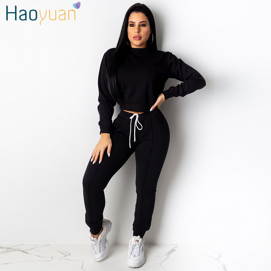 HAOYUAN Two Piece Set Tracksuit Women Fall Clothing Matching Sets Long Sleeve Top And Bodycon Pants Sweat Suits 2 Piece Outfits