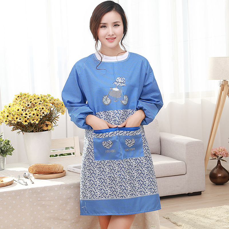 Najib Home Apron Korean style Style Kitchen Long Sleeve Overclothes Household Adult Female Men Apron Work Clothes Anti Oil|Oversleeves| |  - title=