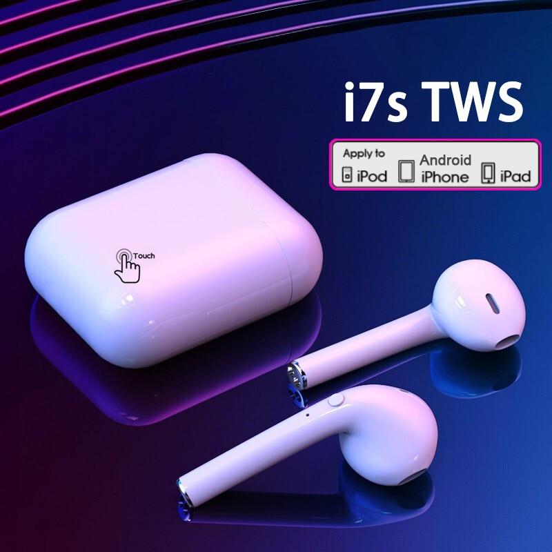 Беспроводные наушники i7s tws, Bluetooth 5,0, спортивные наушники-вкладыши, гарнитура с микрофоном и зарядным боксом, наушники для всех смартфонов 1