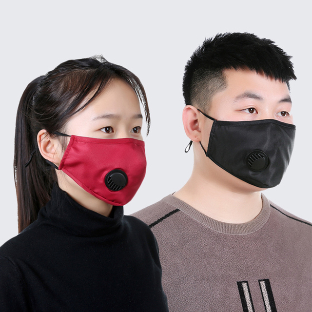 [LFMB]Fashion Unisex Cotton Breath Valve PM2.5 Mouth Mask Anti-Dust Anti Pollution Mask Cloth Activated carbon filter respirator 5