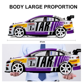 1:10 70Km/H Racing Sports Car High Speed Super Large RC Remote Control High Speed Drift Vehicle Kids Gift (Purple Single Battery 2