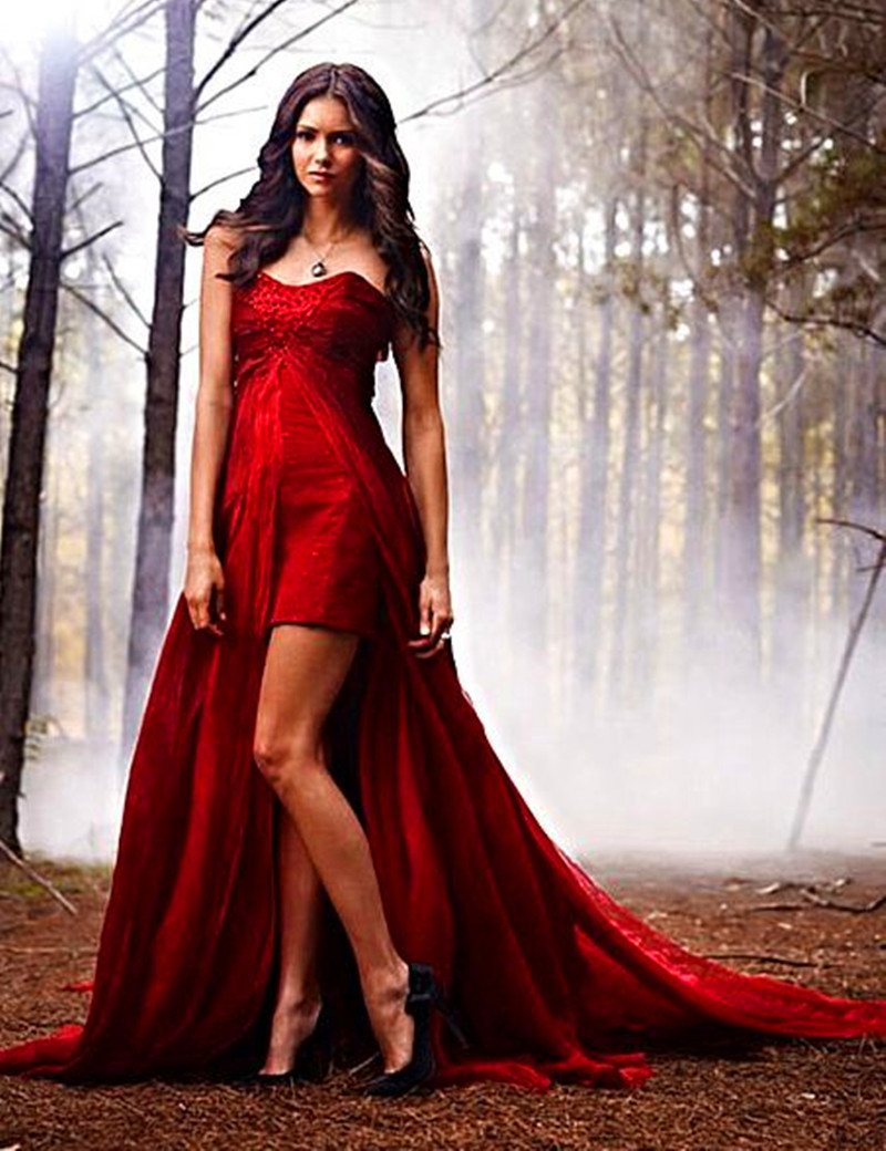 Vestidos De Noiva Red Sweetheart Two Piece Formal Vampire Diaries 2 Detachable Train Chiffon Long Prom Bridesmaid Dress