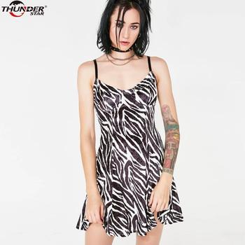 Spaghetti Straps Dress Women Zebra Pattern Print A-line high Waist Party Club Dress 2020 Summer Sexy Streetwear Dresses