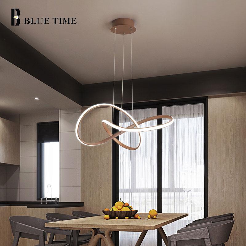 Coffee Finished Modern Led Chandelier For Living room Dining room Kitchen Aluminum Body Indoor Lighting Chandelier Lamp Fixtures