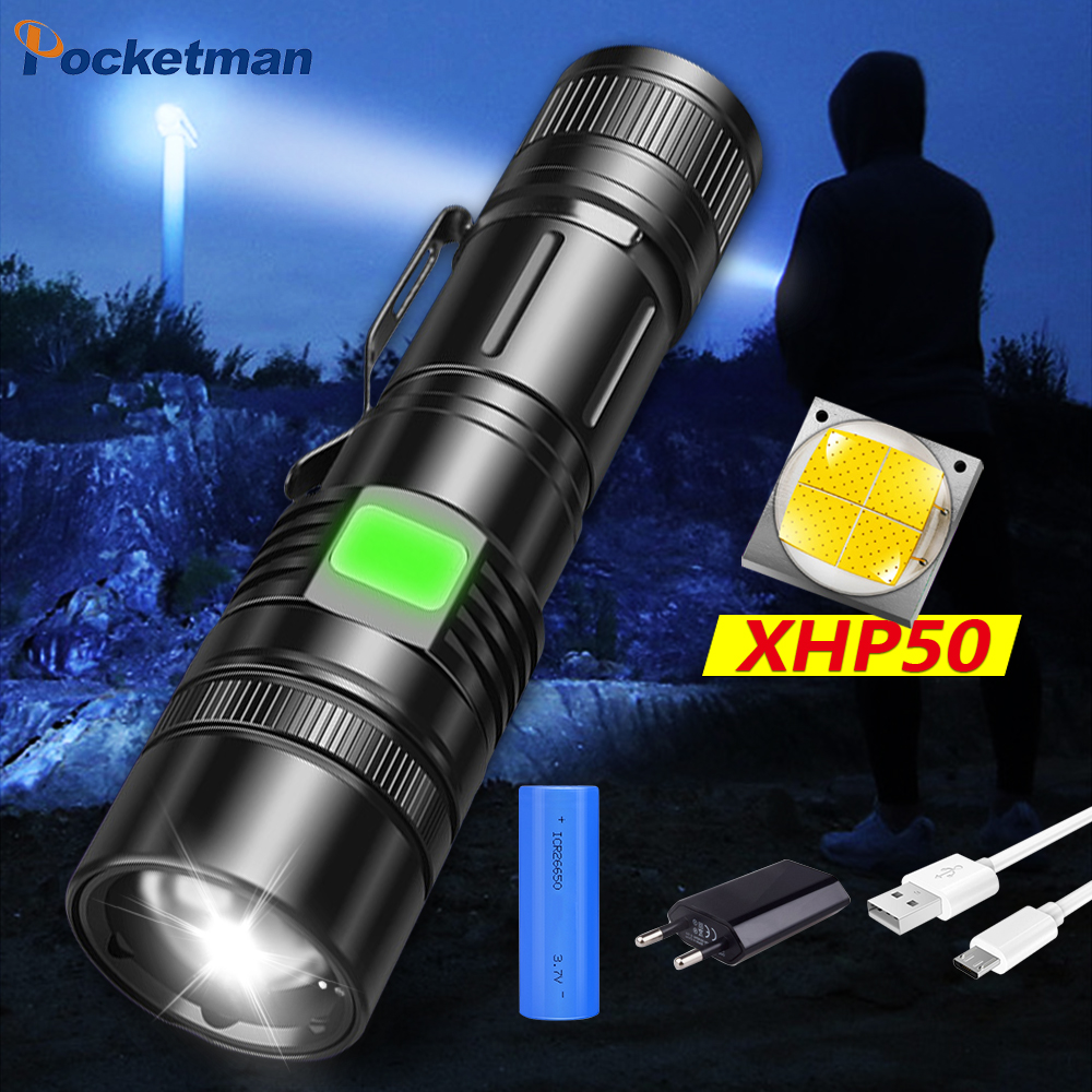 100000LM Zoom LED Flashlight XHP50 Torch USB Rechargeable Strong Light Lantern