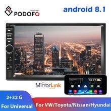 Автомобильный мультимедийный плеер Podofo, Android 8,1, 2din, GPS, Wifi, зеркальный, 2 Din, для Volkswagen, Nissan, Hyundai, Kia, toyota