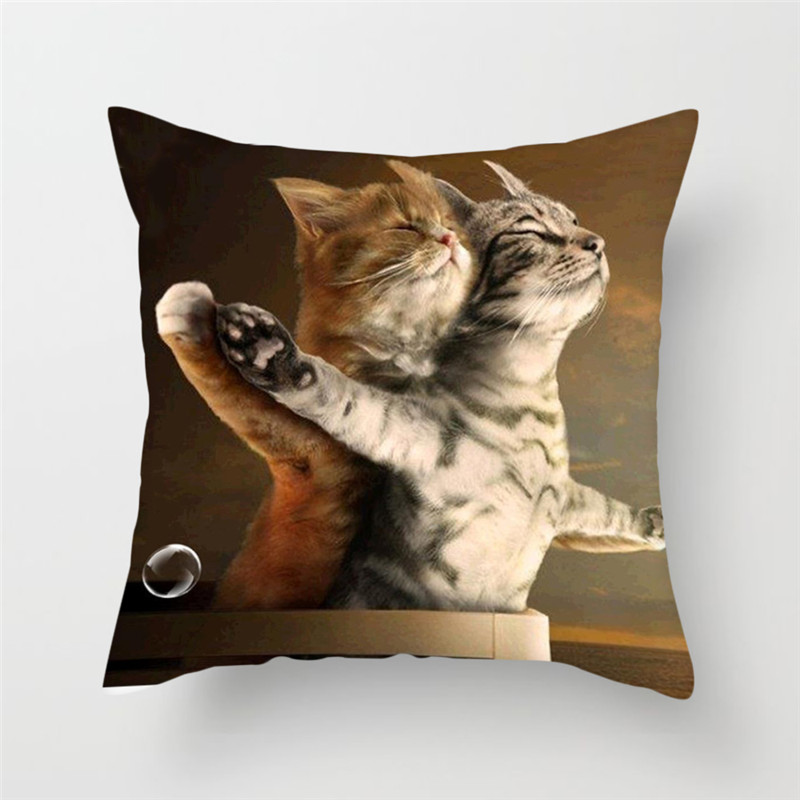 Fuwatacchi Butterfly Poppy Pillow Cover Cute Cat Printed Cushion Cover Funny Square Decorative Pillowcases For Home Sofa Seat