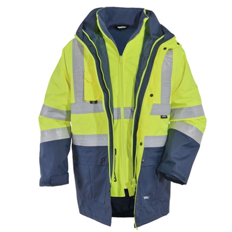EN471 ANSI/SEA 107 AS/NZS  Hi Vis Waterproof 5 In 1 Jacket With Reflective Tape Safety Workwear Winter Jacket