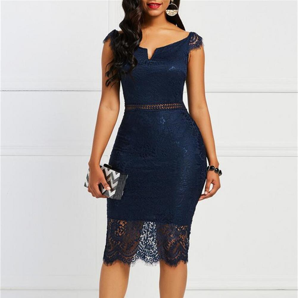 Female V neck Bodycon Off shoulder Short Sleeve Zipper Lace Hollow Out...