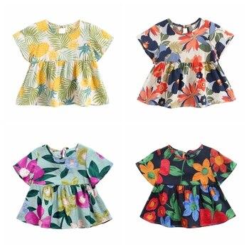Sanlutoz-vestidos de algodón de princesa para bebés, ropa de manga corta con flores