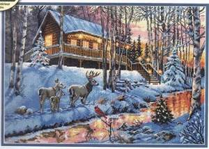 Cross-Stitch-Kit Chalet Cabin Counted Gold-Collection Creek Dim Winter Hut And No 08976