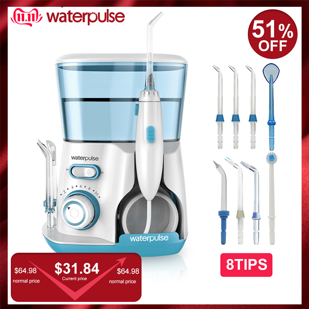Waterpulse V300 8 Tips 800ml Oral Dental Irrigator Water Flosser Oral Hygiene Water Floss Dental Irrigato Flosser Water Flossing