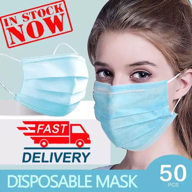 Face Mask 50 Pcs Anti Dust Face Masks Disposable Filter Masks Respirator FFP3 FFP2 Dust 3 Laye Protective Facial Mouth Masks